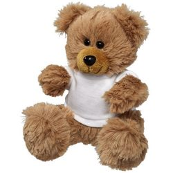 Fred plush sitting teddy bear with shirt, Polyester, White