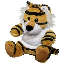 Stripes plush tiger with shirt, Polyester, White