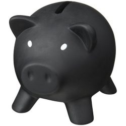 Piggy Bank, PVC for body, PS for lid, solid black