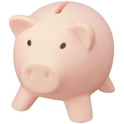 Piggy Bank, PVC for body, PS for lid, Light pink
