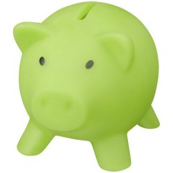 Piggy Bank, PVC for body, PS for lid, Lime