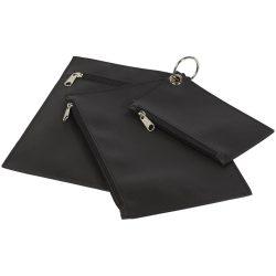 Set 3 portofele pentru chei, numerar si documente, cu fermoar, Everestus, PPE01, poliester, negru, 6x124x190 mm