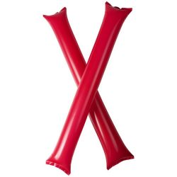 Cheer 2-piece inflatable cheering sticks, Polyethene, Red
