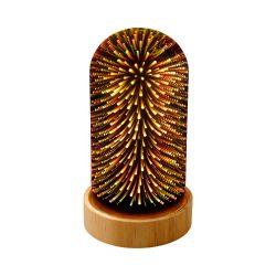 Decoratiune luminoasa de masa, cu efect 3D, Everestus, 9IA19104, Lemn de pin, Sticla, Multicolor