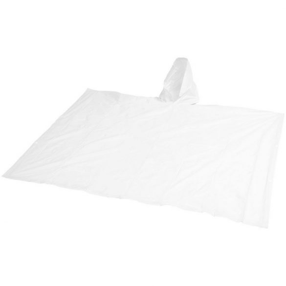 Pilar adjustable rain poncho with pouch, PVC, White