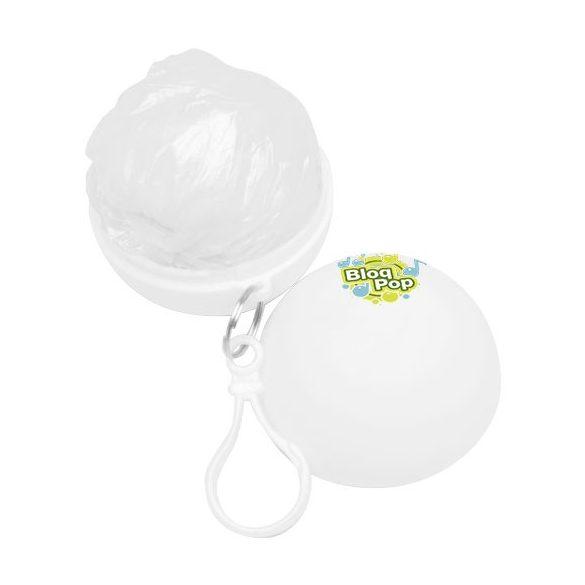 Xina rain foldable poncho with keychain, PS and PE plastic, White