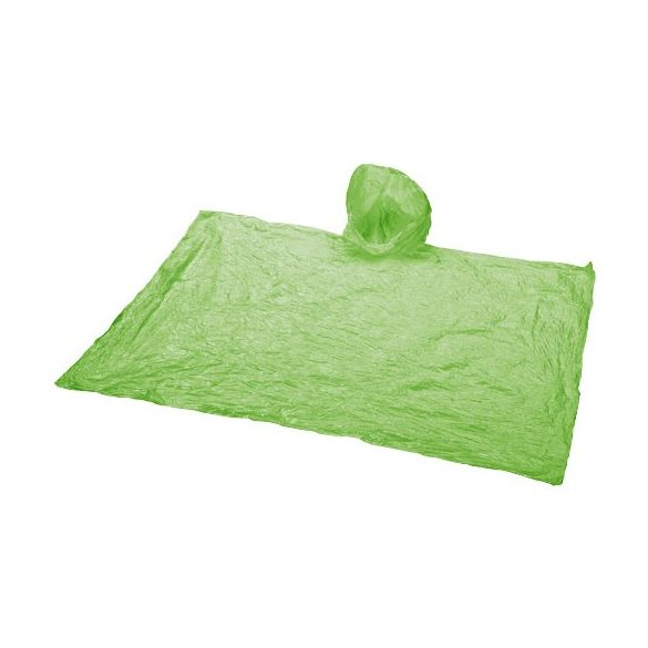 Xina rain foldable poncho with keychain, PS and PE plastic, Lime