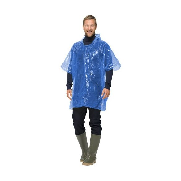 Xina rain foldable poncho with keychain, PS and PE plastic, Blue