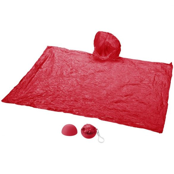 Xina rain foldable poncho with keychain, PS and PE plastic, Red