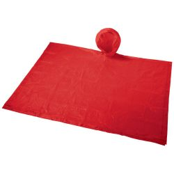 Paulus foldable poncho in pouch, PVC Plastic, Red