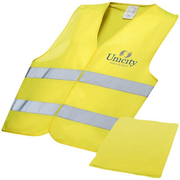 Watch-out professional safety vest in pouch, Polyester, Yellow