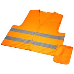 Watch-out XL safety vest in pouch for professional use, Polyester, neon orange