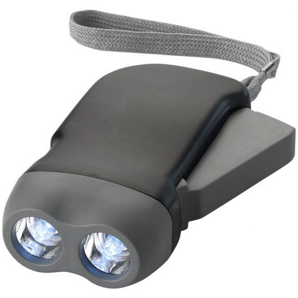 Virgo dual LED torch light with arm strap, ABS plastic, solid black,Grey