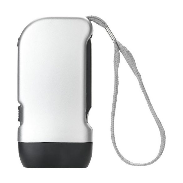 Virgo dual LED torch light with arm strap, ABS plastic, Silver, solid black