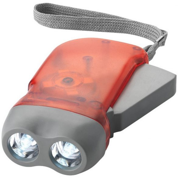 Virgo dual LED torch light with arm strap, ABS plastic, Red,Grey