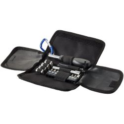 Flint 19-piece tool set, 600D and PU pouch, solid black, Blue