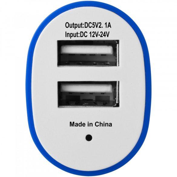 Pole dual car adapter, ABS plastic, Royal blue