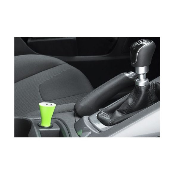 Pole dual car adapter, ABS plastic, Lime