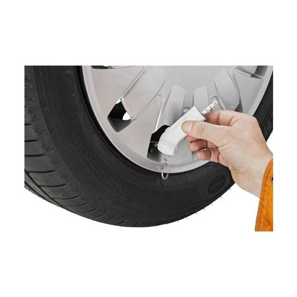 Handi tyre gauge and light keychain, Plastic, White