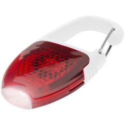 Reflect-or LED keychain light with carabiner, ABS plastic, White, Red