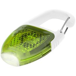 Reflect-or LED keychain light with carabiner, ABS plastic, White,Lime green