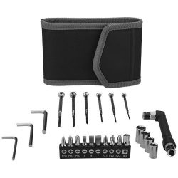 Pockets 24-piece tool set in small pouch, 600D Nylon, solid black
