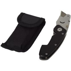 Cutz foldable utility knife and pouch, Aluminum, solid black