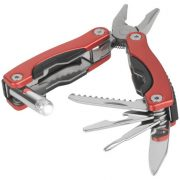 Casper 8-function multi-tool with LED flashlight, Aluminum, Red