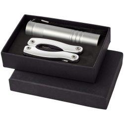 Scout multi-function knife and LED flashlight set, Aluminium, Silver