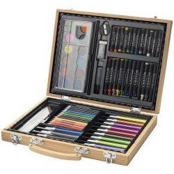 Set de colorat 67 piese, Everestus, RW, lemn, natur, saculet de calatorie inclus