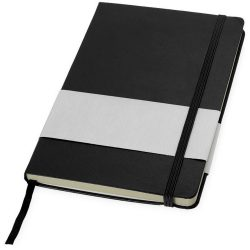 Office notebook (A5 ref), Cardboard covered with leatherette paper, solid black