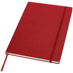 Executive A4 hard cover notebook, Cardboard covered with leatherette paper, Red