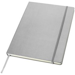 Executive A4 hard cover notebook, Cardboard covered with leatherette paper, Silver