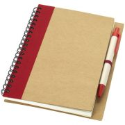 Priestly recycled notebook with pen, Recycled paper, Natural, Red