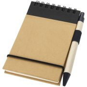 Zuse A7 recycled jotter notepad with pen, Recycled paper, Natural, solid black