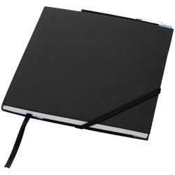 Delta hard cover notebook, Leather paper covered cardboard, solid black