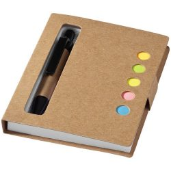 Reveal coloured sticky notes booklet with pen, Cardboard, Natural