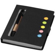 Reveal coloured sticky notes booklet with pen, Cardboard, solid black