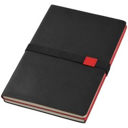 Doppio A5 soft cover notebook, Thermo PU, solid black, Red