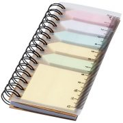 Spinner spiral notebook with coloured sticky notes, PP plastic, Natural