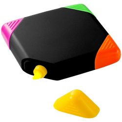 Trafalgar square-shaped, 4-colour highlighter, ABS plastic, solid black