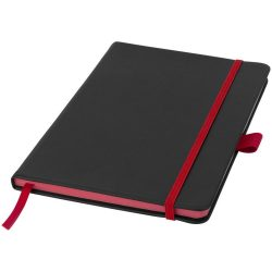 Colour-edge A5 hard cover notebook, PU, solid black, Red