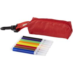 Bolt 8-piece coloured marker set with pouch, Polyester, Red