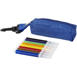 Bolt 8-piece coloured marker set with pouch, Polyester, Blue