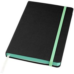 Frappé-fabric A5 hard cover notebook, Fabric, solid black, Green