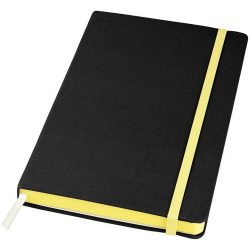 Frappé-fabric A5 hard cover notebook, Fabric, solid black,Yellow