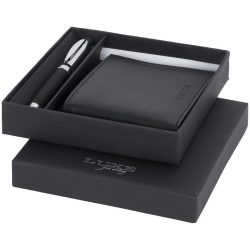 Set cadou portofel si pix ballpoint, Everestus, BE, metal si piele ecologica, negru