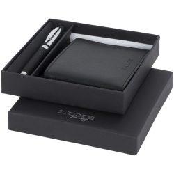 Set cadou portofel si pix, Luxe by AleXer, BE01, metal si piele ecologica, negru, breloc inclus din piele ecologica si metal