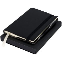 Notebook with Pen Gift Set, Cardboard and Imitation Leather, solid black