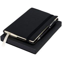 Set cadou pix si carnetel 80 pagini cu liniatura, Luxe by AleXer, NK, carton si piele ecologica, negru